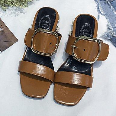 LvYuan Mujer Sandalias PU Primavera Verano Perla de Imitación Hebilla Tacón Robusto Blanco Negro Morrón Oscuro 5 - 7 cms Black
