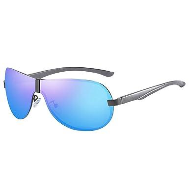 8fb39bc767 WESHION Polarized Sunglasses Men Night Vision Rimless Conjoined Lens Alloy  Frame (Blue Gun)  Amazon.co.uk  Clothing