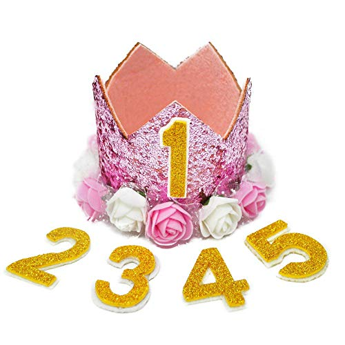 Suzzam 1 Birthday Hat, First Birthday Crown for Baby Girl Princess Dog Birthday Hat for Pets Reusable Birthday Party Hats Cat Kitten Headband Hats with 1-5 -