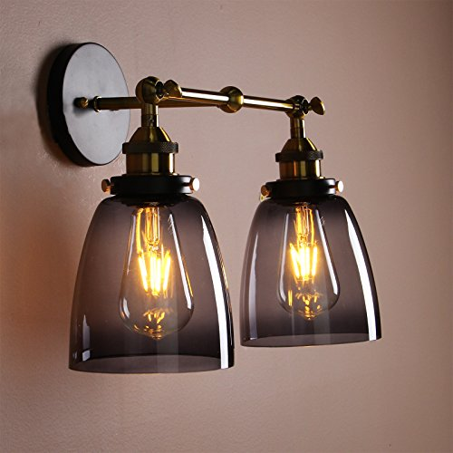 Permo Vintage Industrial Antique 2-lights Wall Sconces with Dual Cone Smoked Gray Glass Shade