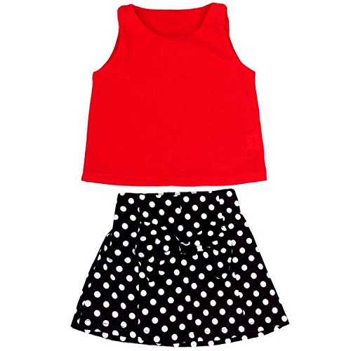 Screen Print Sleeveless Jersey (HOT SALE!!1-6 Years Old Girls Vest Pleated Dress Two Pieces Set Clothes Children Skirt Suit (Red, 3-4Years))