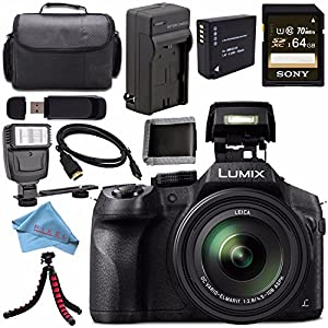 Panasonic Lumix DMC-FZ300 DMC-FZ300K Digital Camera + DMW-BLC12 Lithium Ion Battery + Charger + Sony 64GB SDXC Card + Case + Tripod + Micro HDMI Cable + Memory Card Wallet + Flash Bundle