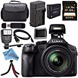 Panasonic Lumix DMC-FZ300 DMC-FZ300K Digital Camera + DMW-BLC12 Lithium Ion Battery + Charger + Sony 64GB SDXC Card + Case + Tripod + Micro HDMI Cable + Memory Card Wallet + Flash Bundle For Sale