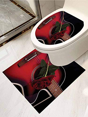 AuraiseHome Red and Black PVC Material Spanish Musician Portugal Guitar with Romance Theme Love Valentines Rose Waterproof Toilet Seat Wall Stickers 2-Piece Set Ruby and White (Rosa Portugal)