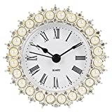 NIKKY HOME Pewter Small Table Clock with Quartz Analog Faux Pearls 3'', White
