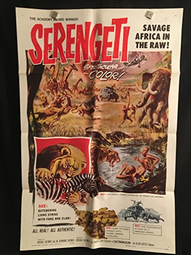(Serengeti 1960 Original Vintage One Sheet Movie Poster, Africa, Safari, Jungle, Documentary, Academy Award Oscar, Zebra, Lion, Tiger, Elephant, Hunter, Poacher)