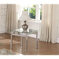 Kings Brand Modern Design Chrome Finish With Glass Top End Table