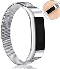 Tobfit Fitbit Alta Band and Alta HR Bands Small Large Milanese Loop Stainless Steel Metal Band for Fitbit Alta HR Fitbit Alta Only(No Tracker) (-Retro Gold, Large)
