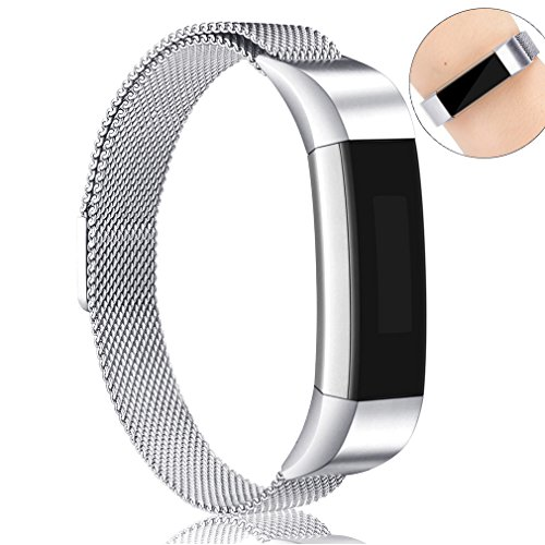 Fitbit Alta Bands, AK Adjustable Fitbit Alta HR Bands (Compatible with Fitbit Alta 2016) Metal Wristband Strap with Magnetic Closure Clasp for Fitbit Alta/Fitbit Alta HR Fitness Tracker (Silver) - Metal Clasp Magnetic