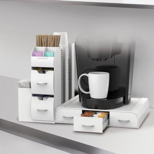 "Mind Reader ""Combine"" 2-Piece Single Serve Coffee Pod Drawer and Condiment Organizer Station, White"