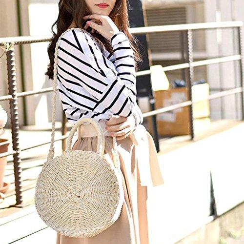 Crossbody Straw White Purpose Travel Bag Dual Summer Woven with Bag Beach Zipper Bag Sling Outdoor S7qwgUC