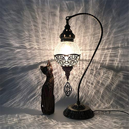 Gold Cracked Sets Ice (H -Inlaid Ice Cracked Glass Bedroom Living Room Decorative Table Lamps of Mediterranean Style Turkish Lamps US Plug Style E)