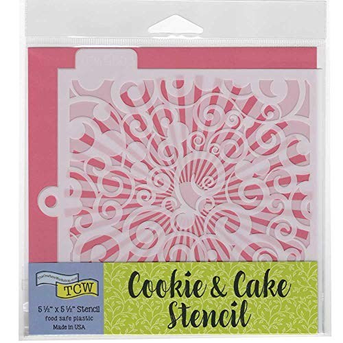 Crafters Workshop Cookie Stencil 2 Pack, 10 Mil Food Safe Templates for Decorating and Baking, TCW5003 Swirls and TCW5018 Sunburst