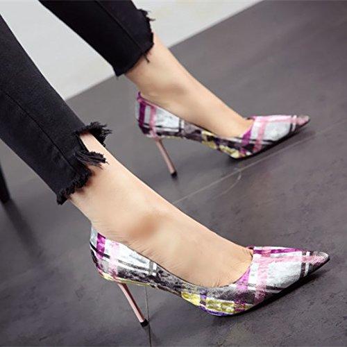 FLYRCX Primavera y otoño elegante fino sharp solo zapatos de tacón de moda personalidad sexy zapatos de fiesta c