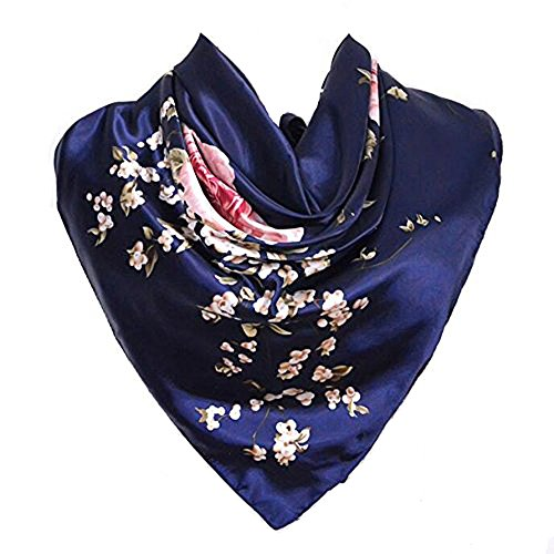 Silk Scarf Navy Blue Luxurious Square Women