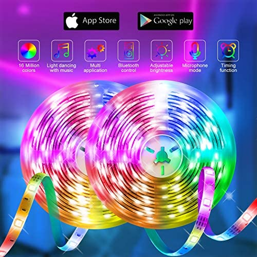 Led Strip Lights 65.6ft ,QINTIANL Led Lights Music Sync Bluetooth App Control RGB Led Strip with 40 Keys Remote,Led Lights for Bedroom, Music Color Changing for Room,Home,Kitchen and Ceiling