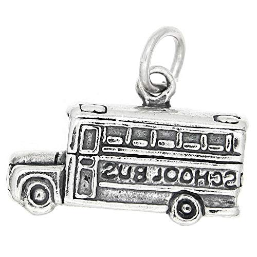 Silver 925 3D Boxy School Bus Charm/Pendant Vintage Crafting Pendant Jewelry Making Supplies - DIY for Necklace Bracelet Accessories by CharmingSS