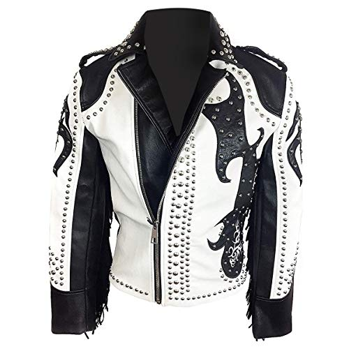 Studded Fringe Jacket - Mens Tribal Rock Punk Gothic Rivet Studded Motorcycle Fringe Biker Leather Jacket