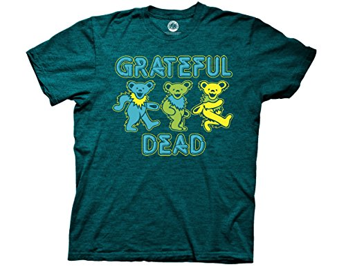 Ripple Junction Grateful Dead Three Dancing Bears Adult T-Shirt XL Heather Cyan