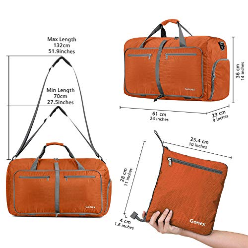 Gonex 60L Foldable Travel Duffle Bag for Luggage, Gym, Sport, Camping, Storage, Shopping Water & Tear Resistant Orange