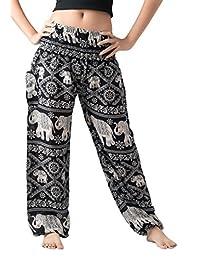 Bangkokpants Women's Yoga Clothing Elephant Pants US Size 0-12 (Black)