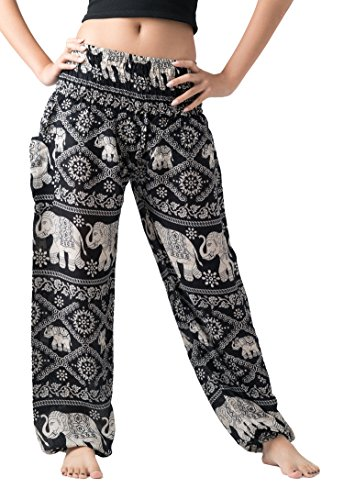 Bangkokpants Women's Casual Pants Harem Bohemian Clothes Hippie Boho Yoga Outfits Smocked Waist (Black, One Size)
