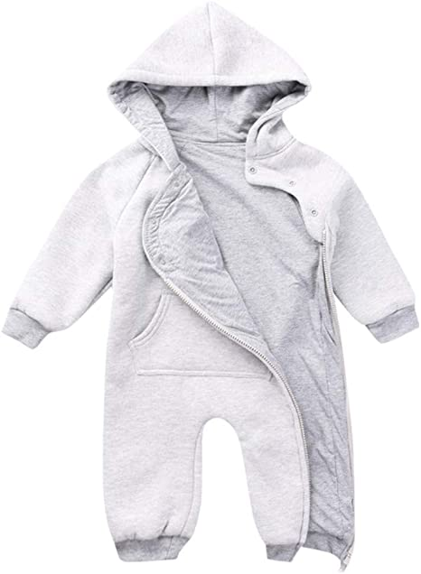 Newborn Baby Girl Boy Kid Hooded Bodysuit Romper Winter Warm Outfit Clothes