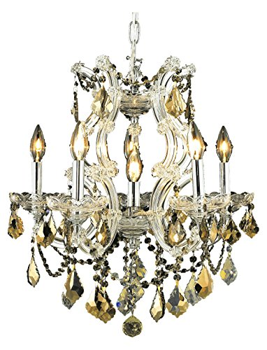 Elegant Lighting 2800D20C-Gt/Ss Swarovski Elements Smoky Golden Teak Crystal Maria Theresa 6-Light, Single-Tier Crystal Chandelier, Finished in Chrome with Smoky Golden Teak Crystals ()