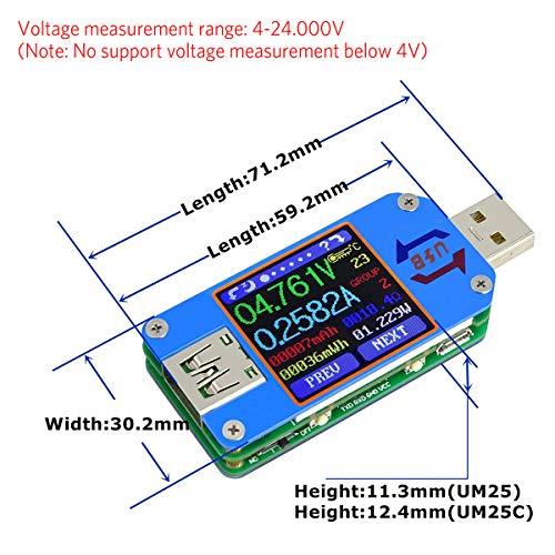 MakerHawk UM25C USB Tester, Bluetooth USB Meter, Type-C Current Meter, USB Power Meter, DC 24.000V 5.0000A, USB Cable Tester, 1.44 inch Color LCD Multimeter, Voltage Tester, USB Load, QC 2.0 QC 3.0 by MakerHawk (Image #2)