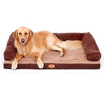 Cama perro Camas para Perros Marrones/Sofá / Sofá para Perros medianos con Cubierta extraíble Cama para Gatos de Interior con Almohada (Tamaño : L(120 ...