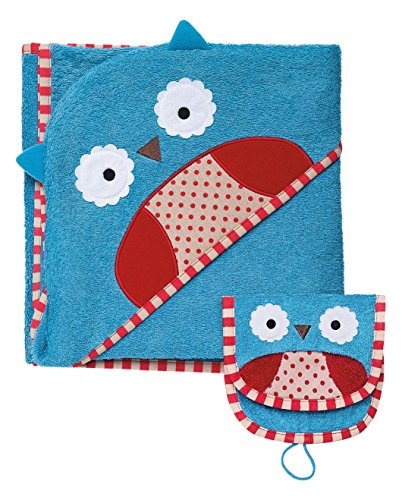 Skip Hop Zoo Baby Infant and Toddler Soft Cotton Hooded Bath Towel and Mitt Washcloth Set, Two Pieces, Multi, Otis Owl