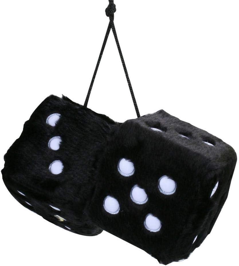 Details about  /2PCS Hanging Couple Fuzzy Plush Dice with Dots Car Interior Ornament Decor