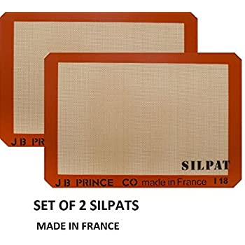 """Silpat Premium Silicone Baking Mat, Half Sheet Size, 11-5/8"""" x 16-1/2"""" (Pack of 2) Non Stick"""