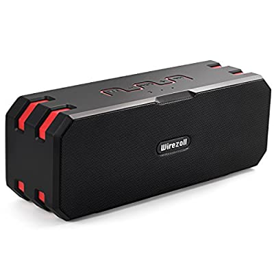 Waterproof Bluetooth Speaker, Wirezoll 16W Portable Wireless Speaker with Advanced Bass Enhancement and Built-in 5200mAh Battery, TF Card Support, Black