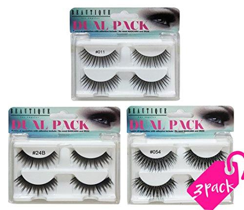 Beautia 3 Pack(6 Pairs) Dual Fake Eyelashes With Seperate Adhesives,B3DFLASH01 (B3DFLASH02)