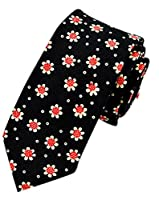 LaiGouMai Men's Fashion Causal Black Floral Printed Linen Tie Necktie