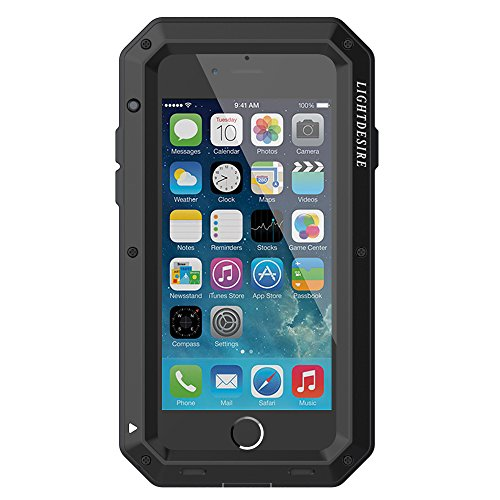 Heavy Duty Phone Case (LIGHTDESIRE Water Resistant Shockproof Aluminum Military Bumper Shell Case for iPhone 7 iPhone 8 - Black)