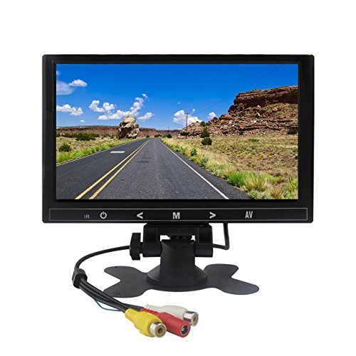 (Portable LED Monitor, Car LCD Monitor 9 inch Small Bus Monitor with 2 AV Inputs and Remote for Vehicle Reversing, Truck Backup Camera System, Car DVD, CCTV, Satellite Receiver in Black by Cnhopestar)