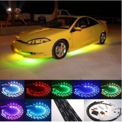Automotive Neon Light Remote Control 7 Color LED Under Car Glow Underbody System Neon Lights Kit Water & Wood au0413