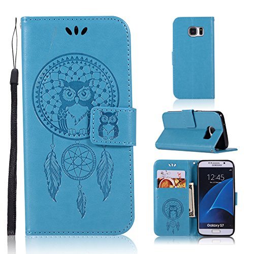 Samsung S7 Case,BSlvwg Embossed Dream Catcher Drop Protection Flip Leather Wallet Credit ID Card Holders with Magnetic Snap and Kickstand Slim Fit Cover for Samsung Galaxy S7 5.1 inch - Blue
