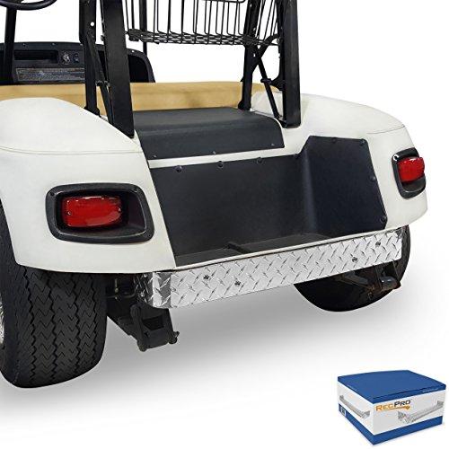 RecPro EZGO TXT Golf Cart Diamond Plate Rear Bumper Cover Polished (Polished Aluminum Golf)