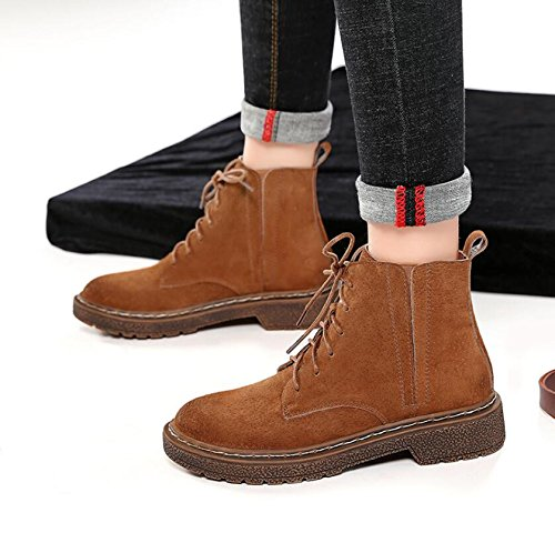 KHSKX-Brown 3.5Cm Shoes Children Winter Plus Velvet Cotton Shoes Flat Bottom Martin Boots Female Boots The English Version Of The Korean Wild Faux Leather Boots 40 HGhQP