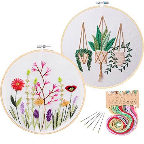 (2 Pack Embroidery Starter Kit with Pattern, Kissbuty Full Range of Stamped Embroidery Kit Including Embroidery Cloth with Pattern, Bamboo Embroidery Hoop, Color Threads and Tools Kit(Plant and Floral) )