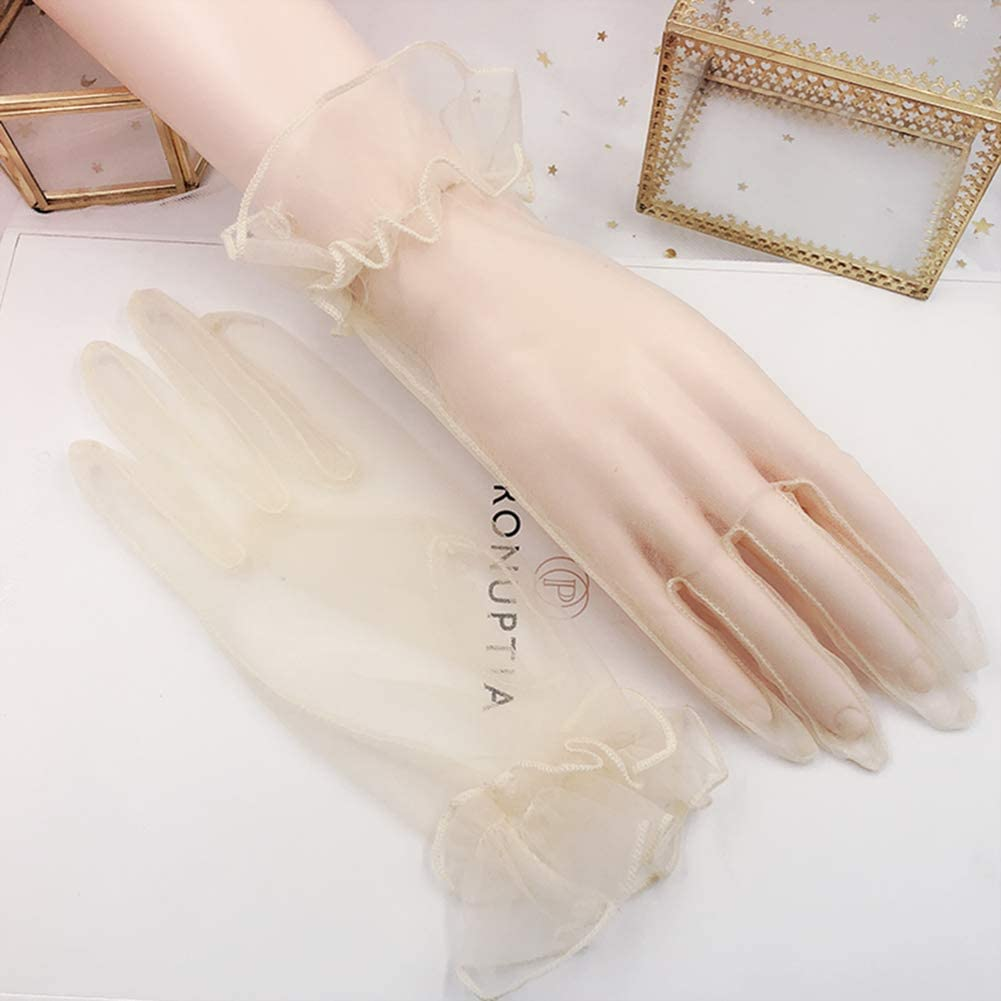 YCShun Womens Tulle Ruffled Wedding Party Gloves 2019 Short Prom Evening Gloves