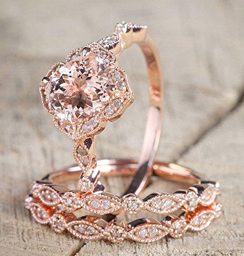 2.25 Carat Morganite and Diamond Trio Wedding Ring Set On Rose Gold with Engagement Ring and Two Wedding Bands by RJewelry
