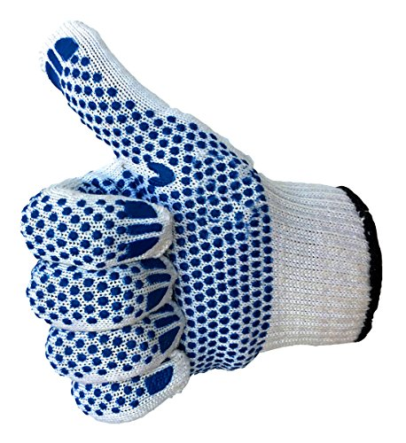 Gardening Gloves - LOT 4 in 1 - With 2 Sided Blue PVC Dots for Sure Grip, Patio and Lawn Care Gloves, Multipurpose Usage - For All Men, Women Hand Protection - 4 Pairs/Pack, Bulk, Set in Medium Size