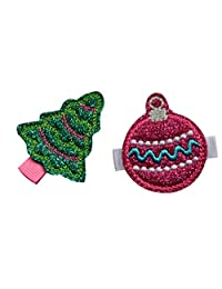 Christmas No Slip Feltie Hair Clip Set for Toddlers and Little Girls By Funny Girl Designs (Christmas Tree and Hot Pink Ornament)