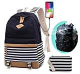 Canvas Backpack School College Womens Laptop Backpack with USB Charging Port 15.6 inch Casual Lightweight Travel Daypack Teen Girls Rain Cover Backpack Set(Black)