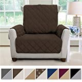 MIGHTY MONKEY Premium Reversible Chair Slipcover, Seat Width to 23' Furniture Protector, 2' Elastic Strap, Machine Washable Armchair Slip Cover for Kids, Dogs, Cats (Chair: Chocolate/Taupe)