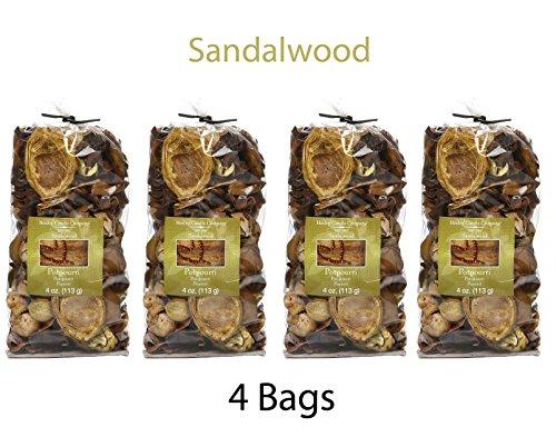Hosley Set of 4 Sandalwood Scented, Natural Potpourri Bag -4 oz each. Infused Essential Oils. Ideal Weddings, Spa, Reiki, Meditation Settings, Bulk Buy O4 by Hosley